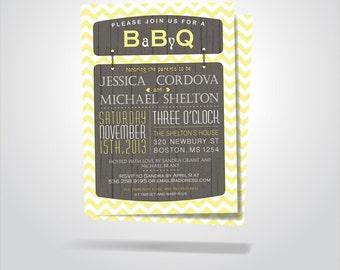 BaByQ - Baby BBQ / Baby Boy Girl Shower Invitations / BBQ Birthday Party Invitation / Pink, Yellow, Blue Chevron Double Sided Invitation