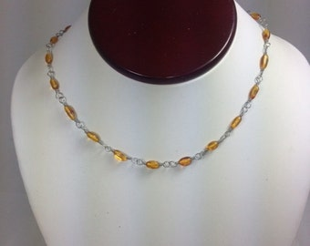 Baltic Amber Wire Wrapped Necklace 17 inches