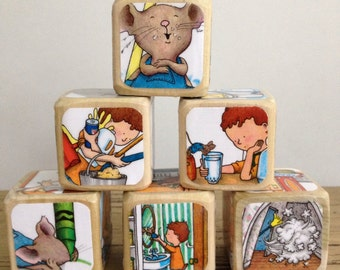 If You Give A Mouse A Cookie  // Childrens Book Blocks // Natural Wood Toy