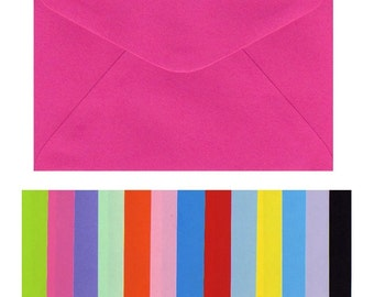 C6 Envelopes x 20 Pieces 16.3cm x 11.5cm Smooth Flat Colours Black Pink Orange Yellow Red Green Purple Blue White Coloured 100gsm Invitation