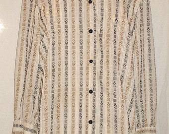 Vintage 1960s Ladies Home Sewn Cotton/Cotton Blend Blouse — Size 12