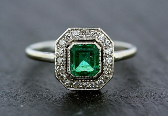 Art Deco Emerald Ring Antique Emerald Amp Diamond 18ct White