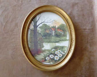 Vintage Homco Wall Hanging, 1983 NO. 3254, Rural Stream Scene
