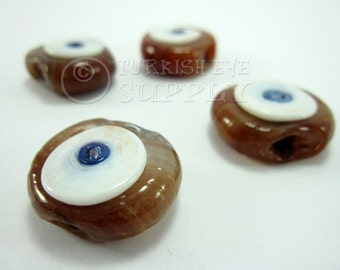 26mm Evil Eye, Handmade Glass Bead, Artisan Handmade Glass Evil Eye Beads, Protective Good Luck Turkish Glass Beads Beads