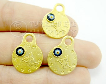 3 pc Gold Coin Charms with Enameled Evil Eye, Matte 22K Gold Plated Mini Ottoman Coin Replica Charms, Turkish Jewelry, Good Luck Charms