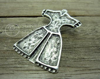 Silver Caftan Pendant, Ottoman Caftan, Turkish Caftan Pendant, Sultan's Robe Pendant, Turkish Jewelry, Matte Antique Silver Plated Pendant