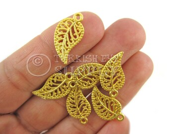 5 pc Filigree Leaf Charms, Matte 22K Gold Plated Brass Turkish Jewelry