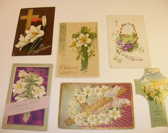 Lot of 6 Antique Easter Postcards 1900s - 1910s