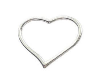 8 Silver Open Heart Charm Pendant 22x28mm by TIJC SP0070