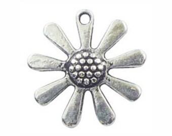 BULK 20 Silver Daisy Flower Charm 22x23mm by TIJC - SP0826B