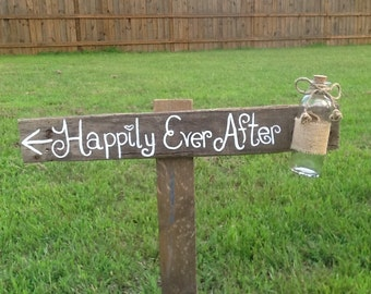 Happily ever after directional sign, Rustic wedding sign, mason jar wedding sign, wooden wedding signage