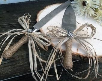 Rustic cake knife set, shabby chic wedding, country glam wedding, barn wedding