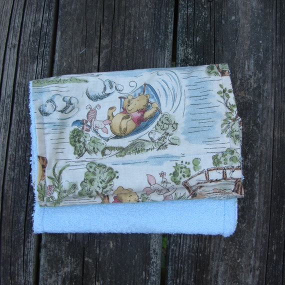 Classic pooh burp cloths boy nursery decor baby shower gift for Classic pooh nursery mural