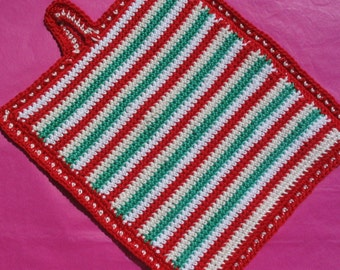 Stripes and spots potholder pattern - Instant Download