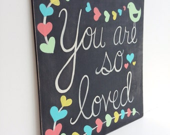 Hand Painted Wood Sign - Baby Girl Nursery Decor - Nursery Wall Art - Nursery Quote Art - Nursery Wall Decor - Chalkboard Sign - Love Sign