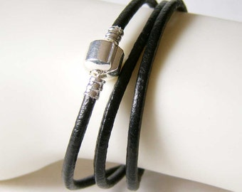 Black Leather European Style Triple Wrap Bracelet