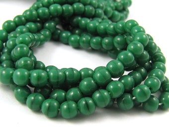 Coral Dark Green 4mm  Round Czech Glass  Beads 100pc #1023