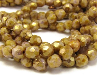 Luster Opaque Gold Smoky Topaz 4mm Facet Round Czech Glass Fire Polished Beads 50pc #1517
