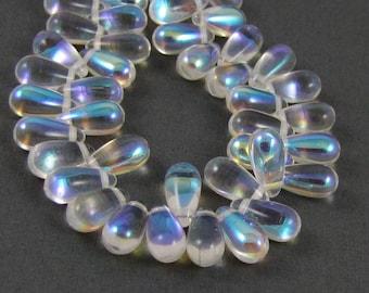 Crystal AB 5x10mm Tear Drop Czech Glass Beads 25pc #397