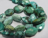 16 Inches Natural Color And Natural Stone Tibetan Turquoise Faceted Good Quality Size 8X14 mm To 11X17 mm   Approx