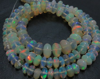14 Inches Ethiopian Opal Smooth Rondells Very Good Quality Full Flashy Fire Natural Color  Size 4 mm To 7.50 mm  Approx