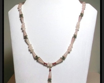 Natural Rose Quartz Rhodonite Silver Pendant Necklace 20 inches One of a Kind