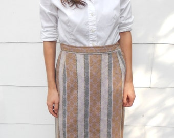 """Vintage 1950's Gray and Tan Skirt by """"Personal"""" (#25-19)"""