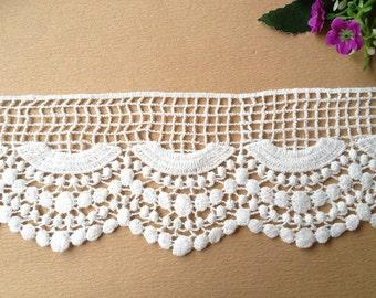 White Cotton Lace, Scalloped Lace, Venice Lace Trim, Costume Supplies