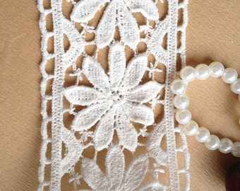 Beautiful Daisy Flowers Lace, Vintage Lace, Cotton Lace, White Lace Trim, 2.75 inches wide 2 yards