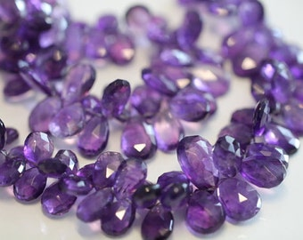 Purple Amethyst Faceted Pear Briolettes, 10~12mm, 6 beads GM0101FP/12/6 # 52