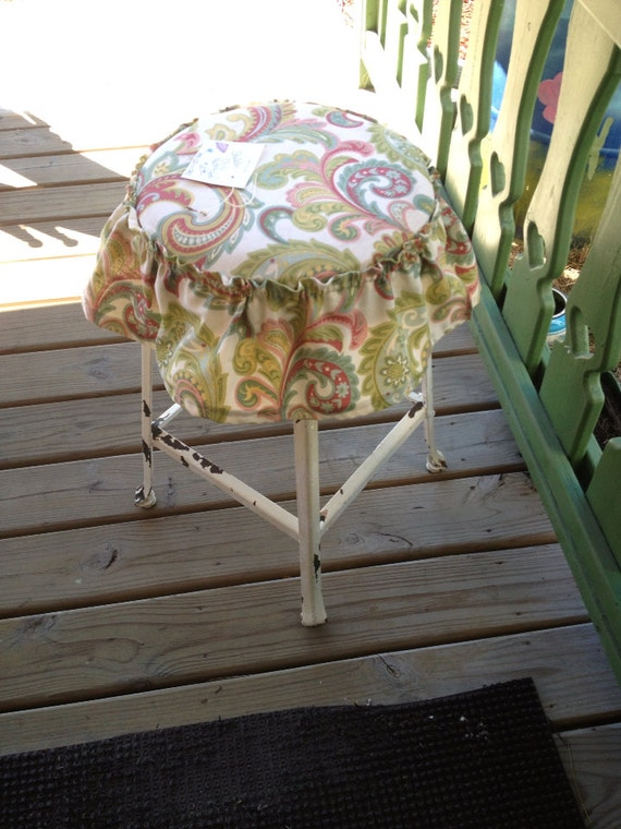 items similar to shabby chic padded stool on etsy. Black Bedroom Furniture Sets. Home Design Ideas