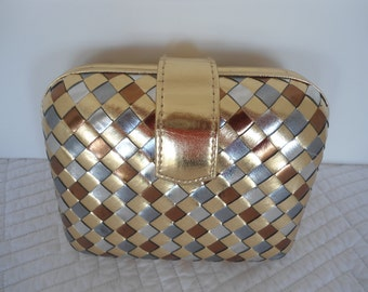 Vintage Prom Special  Occassion 80s 90s Metallic Basket Weave Box Clutch By La Regale
