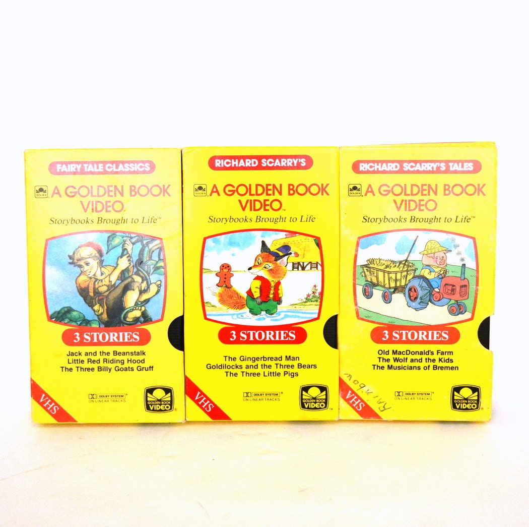 Vintage A Golden Book Video LOT Richard Scarry VHS By