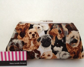 Dog Lovers Clutch Purse w/Silver Finish Snap Close Frame w/chain