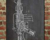 M-16 Rifle Poster, Gun Poster, Military Gifts, Gun Enthusiast, Gun Gifts, PP44