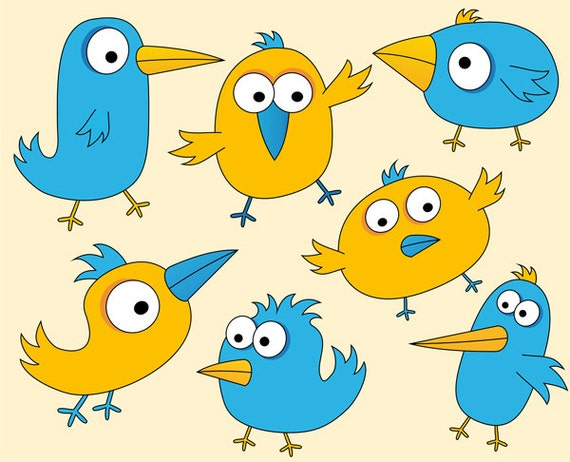 Cute Birds Clip Art Funny Birds Clipart Digital by YarkoDesign