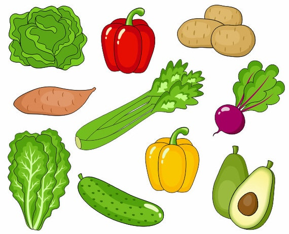 Vegetables Clip Art Cute Veggies Clipart Digital Clip Art