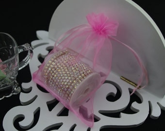 100  3.54''x4.72''  Pink Organza Jewelry Gift Pouch Bags Great For Wedding favors, sachets, beads, jewelry, and more