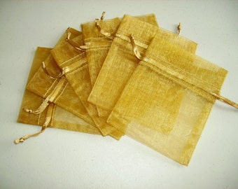 10  8''x12''  Gold  Organza Jewelry Gift Pouch Bags Great For Wedding favors, sachets, beads, jewelry, and more