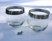 Roly Poly Glasses - Dorothy Thorpe Style - Sterling Silver Rims - 8 oz. - Two - Mad Men