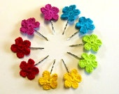 Crocheted flower hair pin - bright colour - set of two - choose your own set of bobby pins
