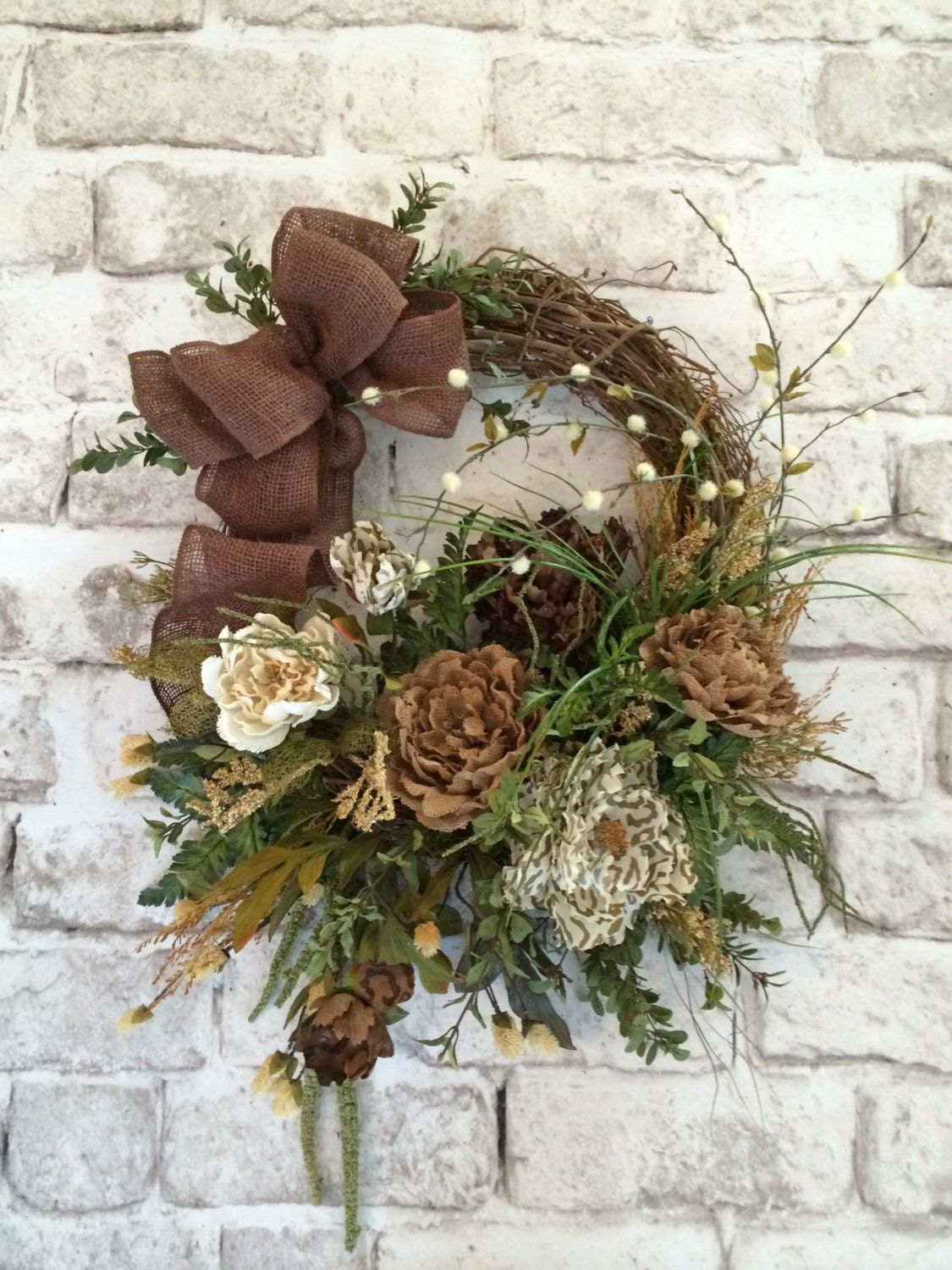 Burlap Floral Wreath Front Door Wreath Spring Wreath Silk