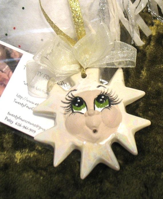 Whimsical Ceramic Snowflake Christmas Tree Ornament Handmade
