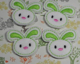 Lime Green Bunny felties, feltie, machine embroidered, felt applique, felt embellishment, hairbow center
