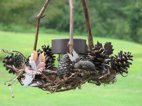 Fall Autumn Grapevine Pinecone Solar Lantern with rusty tin leaves fall outdoor lighting