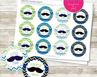 Little Man Moustache DIY Printable Cupcake Topper