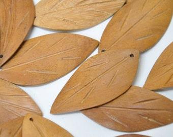 Natural Wood Leaf Pendants Charms, Carved Wooden Leaves, Brown Leaf Pendants, Vintage Handcrafted Pendants, Lot of 10, Woodland Botanical