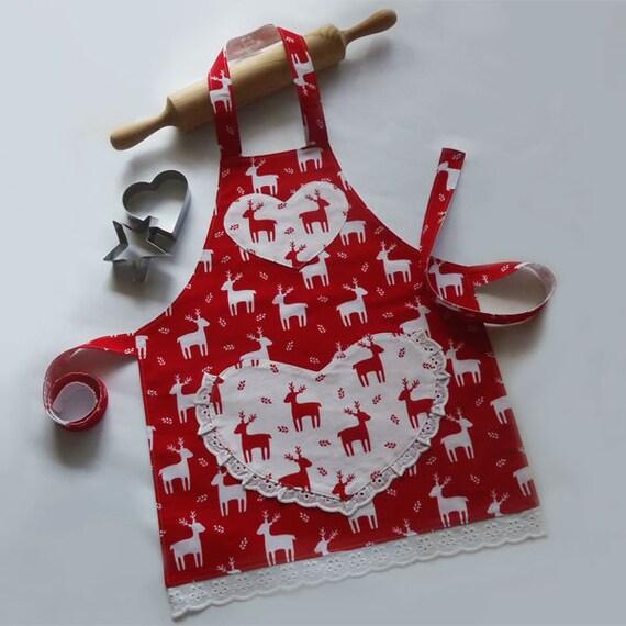 Kids Christmas Apron Red Girls Kitchen Craft Play Art Apron