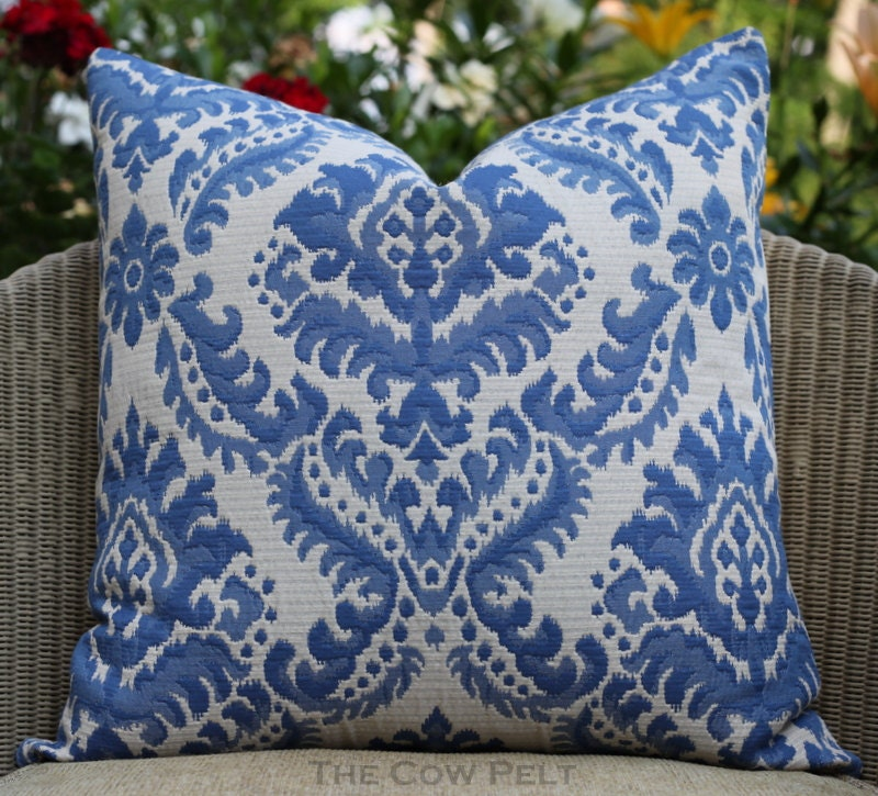 Damask Blue Pillow Jacquard Handmade Decorative Pillow