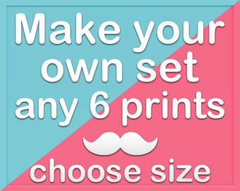 Create your own set of six - Any 6 prints from my shop, choose size before add item to cart
